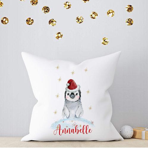 Personalised Christmas Penguin Cushion