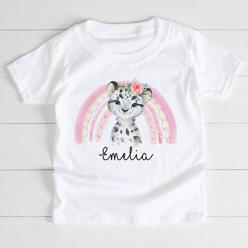 Personalised Snow Leopard T-Shirt