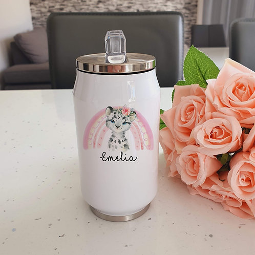 Personalised Snow Leopard Water Bottle