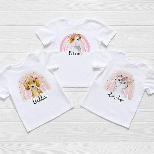 Pink Rainbow Guinea Pig, Puppy Or Kitten T-Shirt