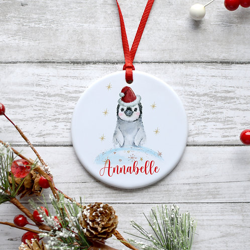 Personalised Christmas Penguin Bauble