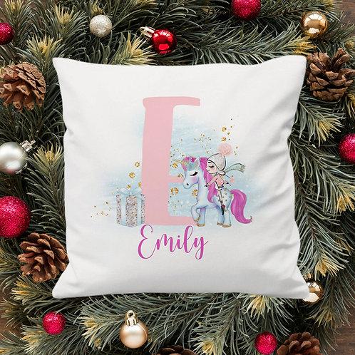 Personalised Christmas Unicorn Cushion