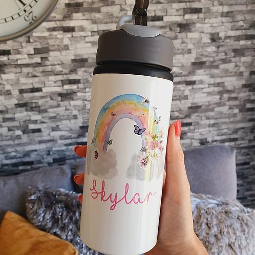 Personalised Butterfly Rainbow Water Bottle