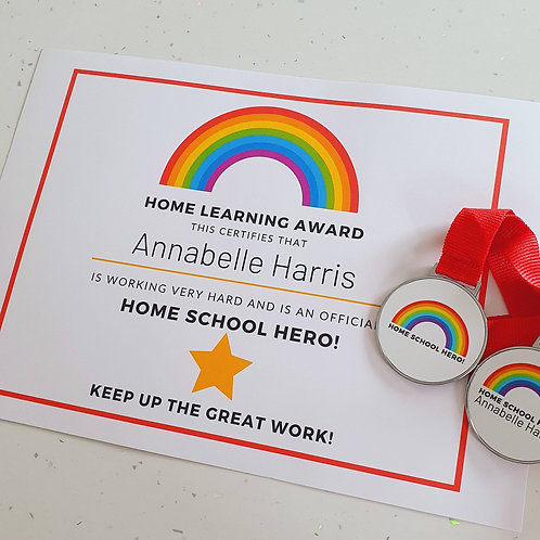 Home Learning Or Amazing Work Certificate / Medal