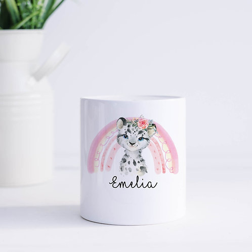 Personalised Snow Leopard Piggy Bank