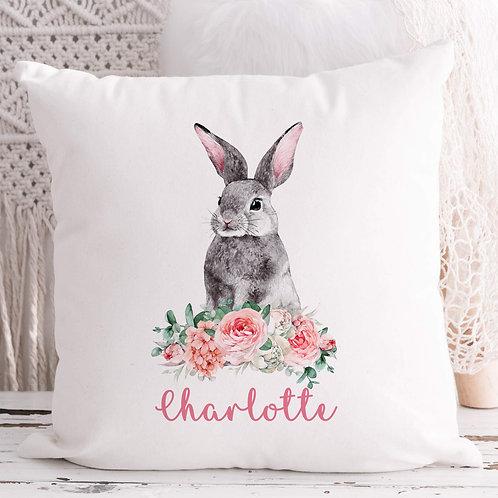 Personalised Grey Rabbit Cushion