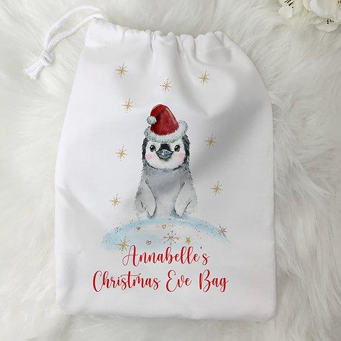 Personalised Christmas Penguin Bag
