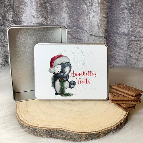Christmas Penguin Treat Tin