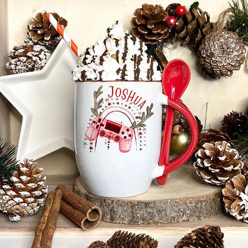 Christmas Gamer Mug With Spoon