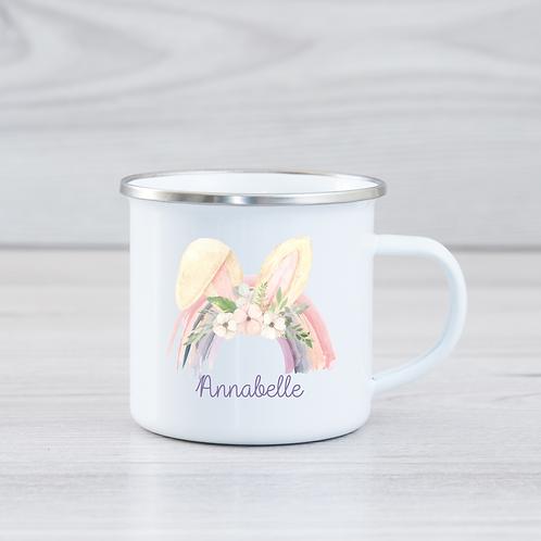 Personalised Rainbow Bunny Ears Enamel Mug