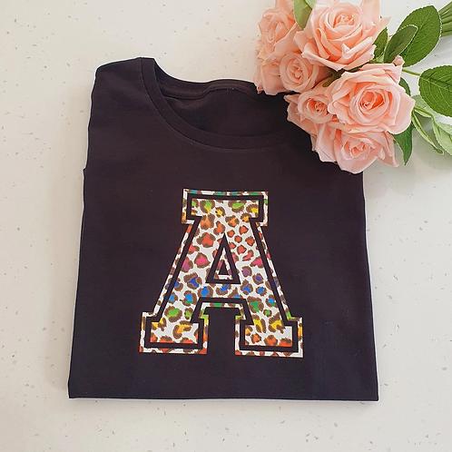 Rainbow Leopard Print  Initial T-Shirt