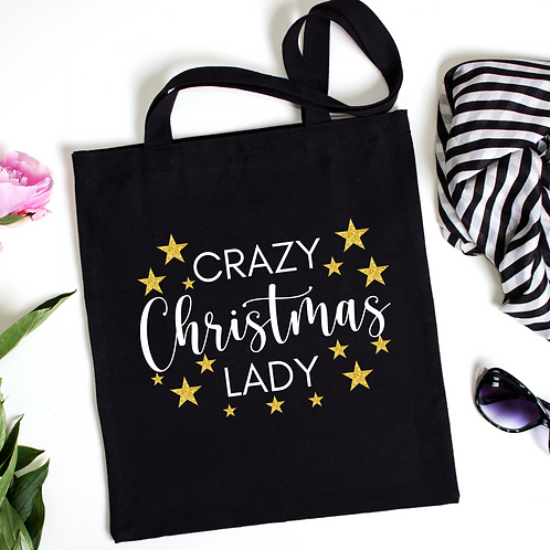Crazy Christmas Lady Tote Bag