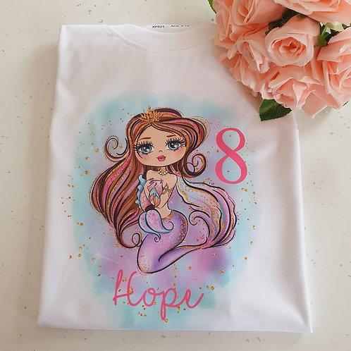 Mermaid  Birthday T-Shirt More Characters