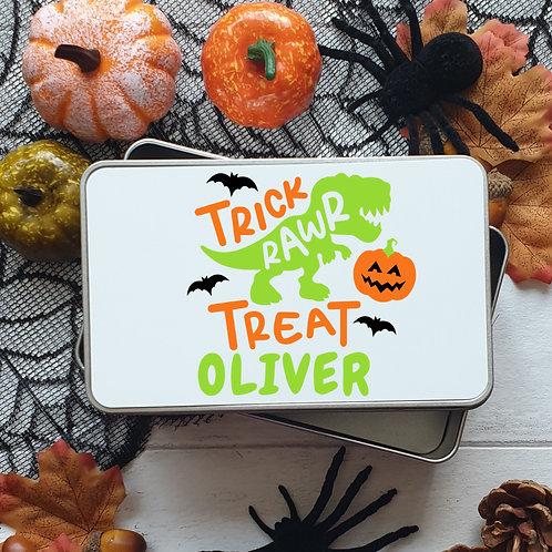 Halloween Dinosaur Treat Tin