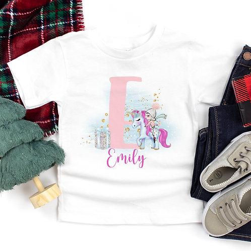 Personalised Christmas Unicorn T-Shirt