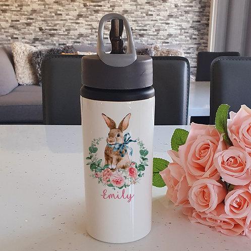 Personalised Brown Rabbit Water Bottle