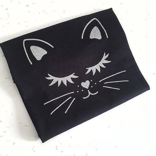 Cute Glitter Black Cat T-Shirt