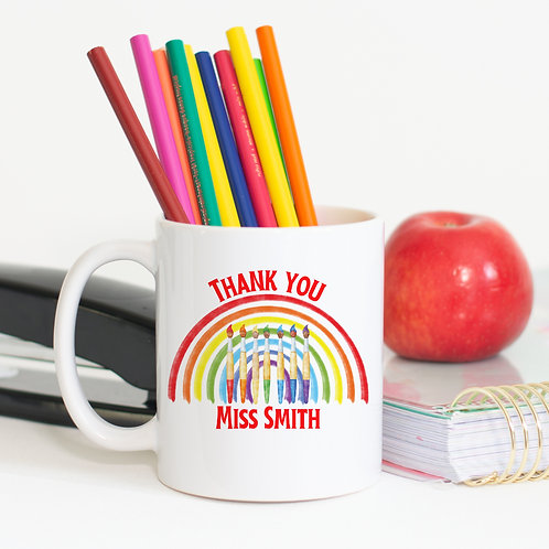 Teacher Rainbow Paintbrush Mug