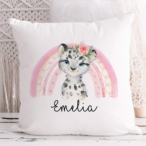 Personalised Snow Leopard Cushion