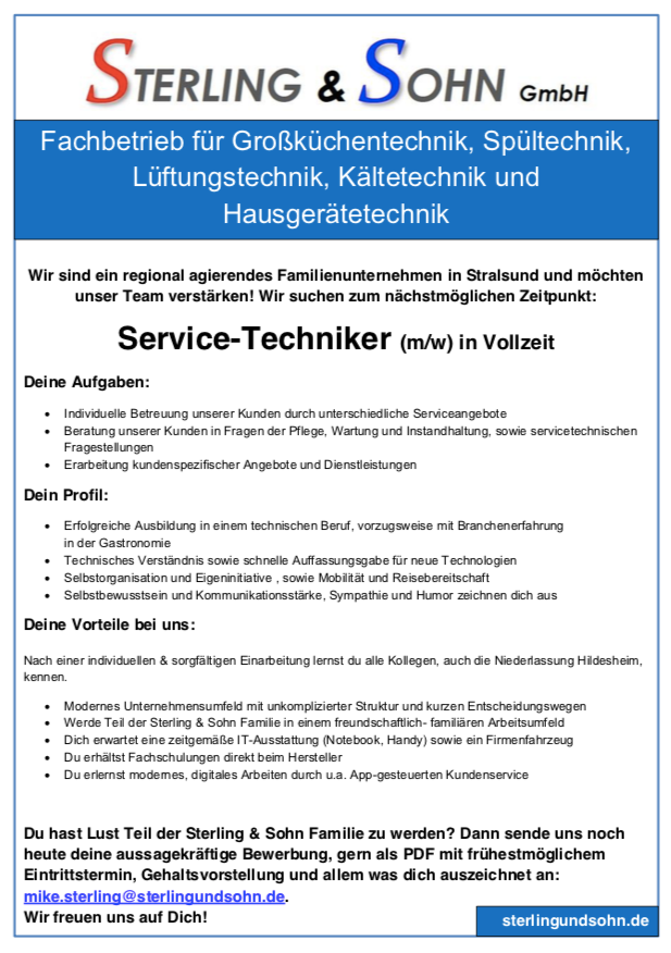 Servicetechniker Stralsund
