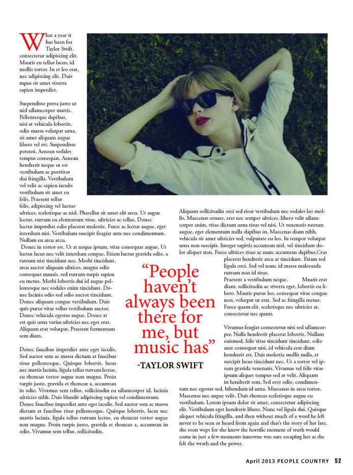 Taylor Swift Magazine Spread