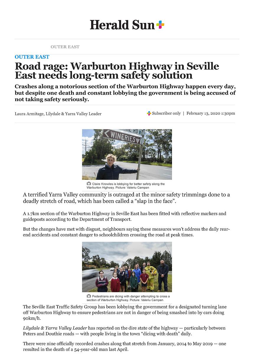 Seville East stretch of Warburton Highwa