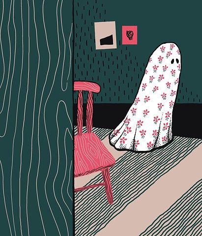 Frida Strømme illustrasjon, Kløpinne, lakenspøkelse