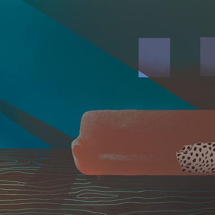 Frida Strømme illustrason, Kløpinne, stue, sofa