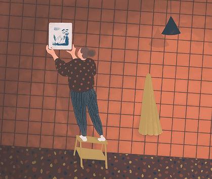 Frida Strømme illustrasjon, Kløpinne, stue, bilde