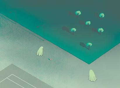 Frida Strømme illustrasjon, Kløpinne, spøkelser, tennis