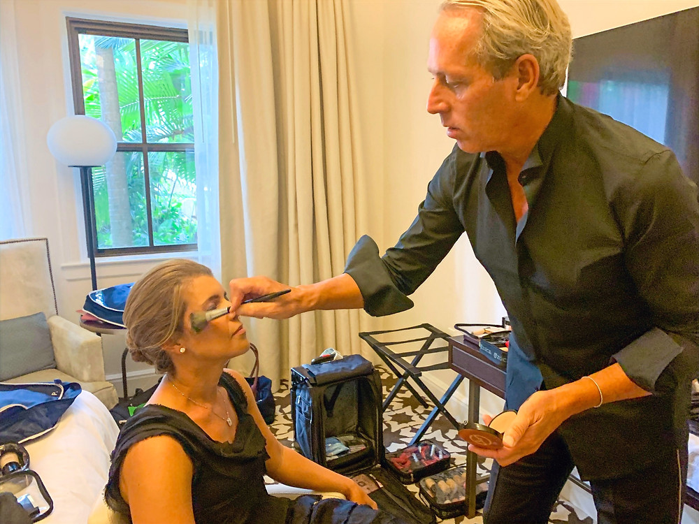 Giorgio Armani Beauty Celebrity Face Designer Tim Quinn preps emcee Paige Kornblue moments before Ballroom Battle 2019
