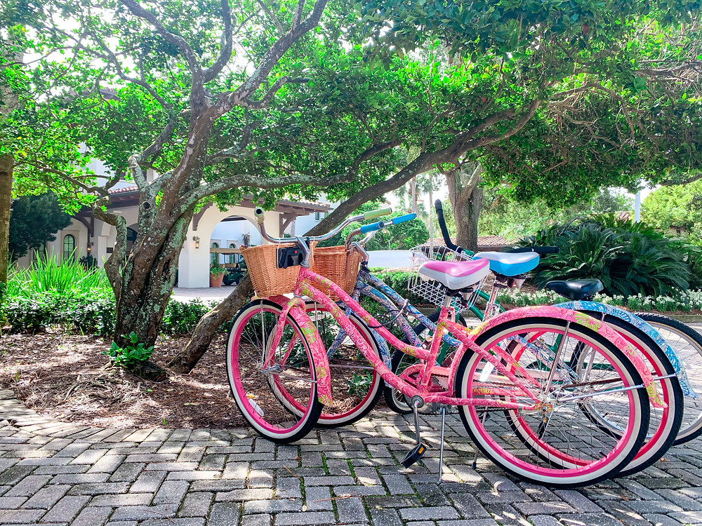 Lilly Pulitzer limited edition cruiser bicycles outside Sea Island Beach Club