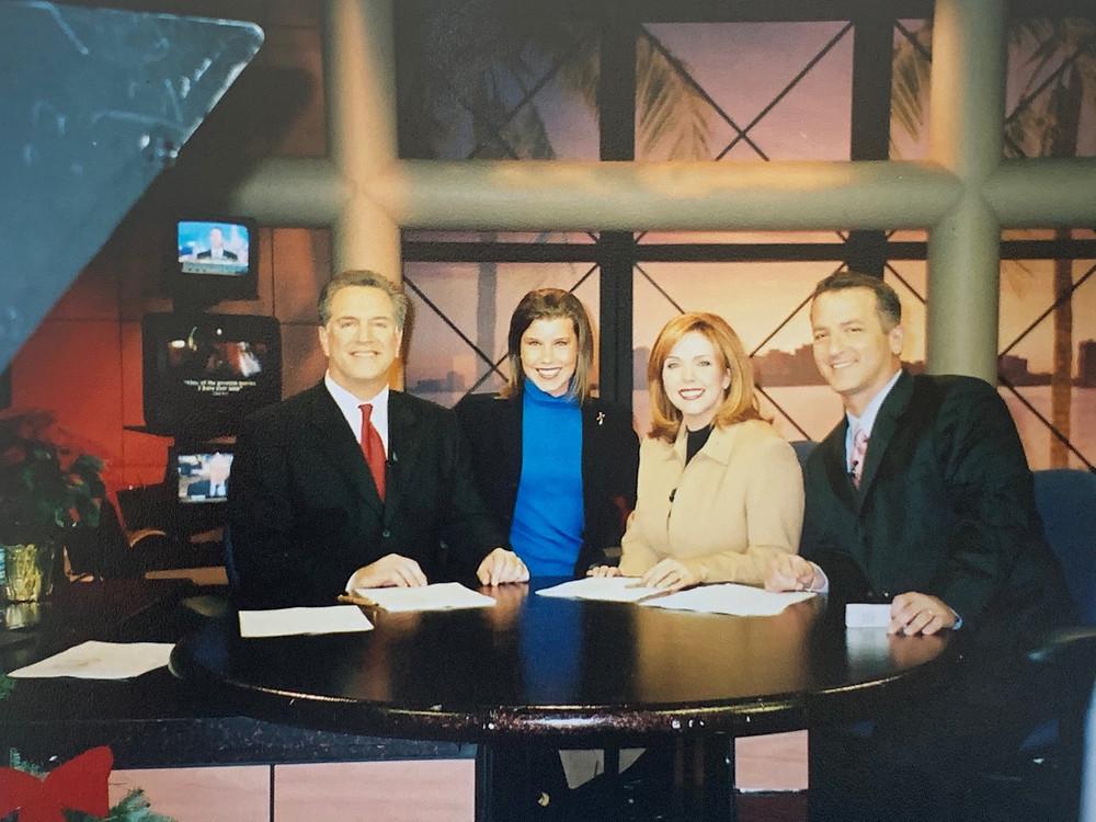 WPTV's John Favole, Paige Kornblue, Kelley Dunn and Dean Tendrich on the news desk in 2004