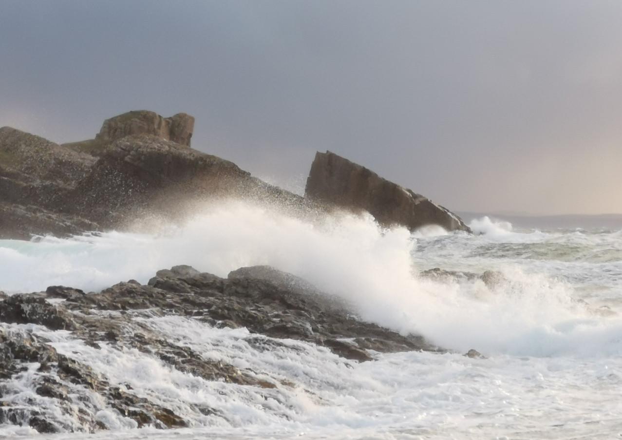 Split Rock Clachtoll in a storm