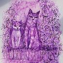 Purple cats postcard