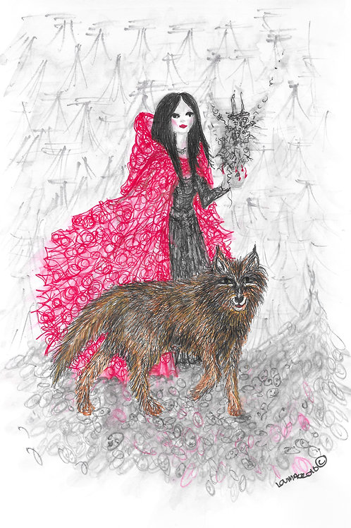 Scarlett walks the wolf