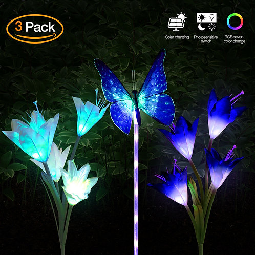 3Pcs LED Solar Lily Flower Lights