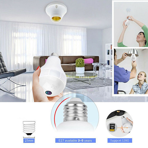 360° Bulb Hidden Cam, With Wifi, Motion Detection / Nanny Cam