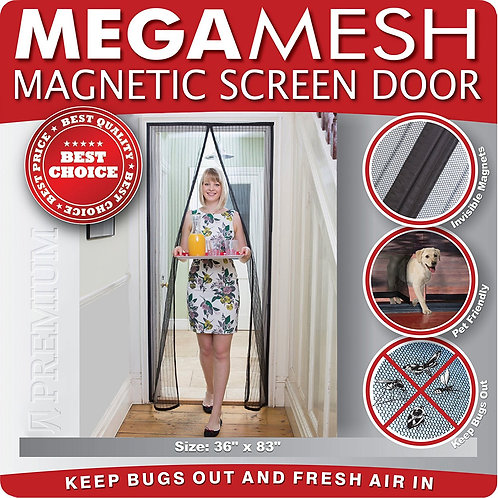 Magnetic Screen Door Heavy Duty Reinforced Mesh