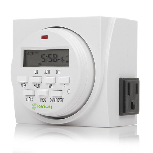 7 Day Heavy Duty Digital Programmable Timer - Dual Outlet