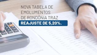 Nova tabela de emolumentos de Rondônia traz reajuste de 5,20%