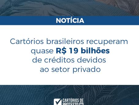 Cartórios brasileiros recuperam quase R$ 19 bilhões de créditos devidos ao setor privado.
