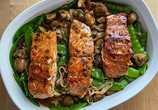 ginger soy salmon with rice noodles