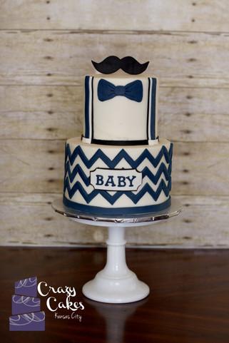 Mustache and Chevron Baby Shower Cake