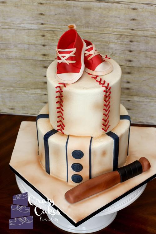 Vintage Baseball Baby Shower Cake