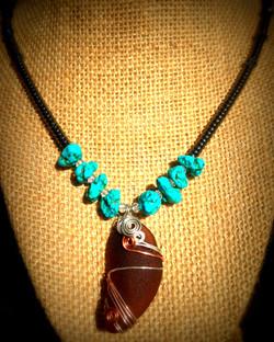 Brown San Clemente Sea Glass_Howlite_Hematite