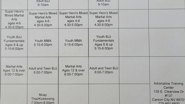 Adrenaline Summer Schedule