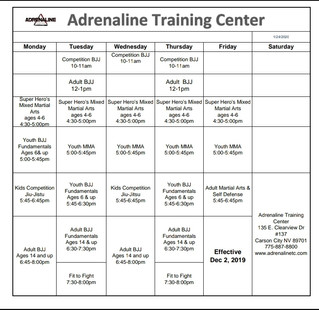 Fall Schedule at Adrenaline