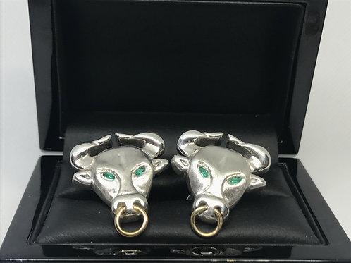 Bull and Moon Cuflink Pair