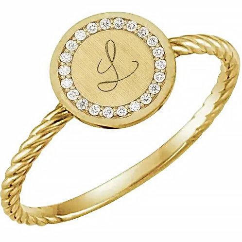 Diamond detail Initial Ring